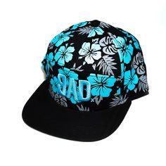 Blue and Grey Hawaiian BAD 7 Panel Hat
