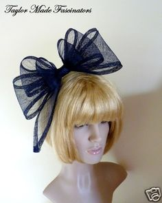 NEW LARGE NAVY BLUE SINAMAY BOW FASCINATOR HAT HAIR BAND WEDDING MOTHER OF  BRIDE fe0cda0c643