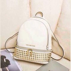 MICHAEL Michael Kors Small Rhea Zip Soft Venus Leather Studded Backpack White