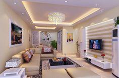 Подвесной потолок с эффектной люстрой в современной гостиной