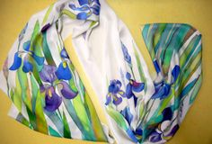 "Buy batik silk satin scarf womens scarf  blue irises long scarf summer scarf hand painted 79 "" by 17"" by allatai. Explore more products on http://allatai.etsy.com"