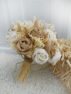 Country Burlap & Wheat Bridal Bouquet handmade of by PapernLace