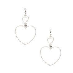 White Wire Heart Drop Earrings