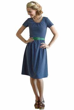 Dixie Dress in Navy Polka Dot