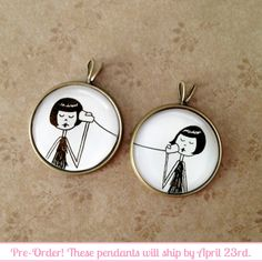 BFF Best Friend pendant set // Eloise and Ramona play telephone