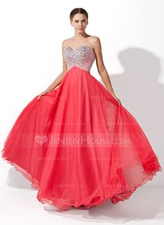 Prom Dresses - $149.99 - A-Line/Princess Sweetheart Floor-Length Tulle Charmeuse Prom Dress With Beading (018004812) http://jenjenhouse.com/A-Line-Princess-Sweetheart-Floor-Length-Tulle-Charmeuse-Prom-Dress-With-Beading-018004812-g4812?ver=1