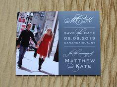 Gray & White Formal Monogram & Photo Wedding Save the Date Card