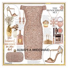 """Rose Gold Dress"" by tiana212 ❤ liked on Polyvore featuring Adrianna Papell, Anne Sisteron, Casadei, Alexander McQueen, Nate Berkus, Too Faced Cosmetics, Charlotte Tilbury, Sephora Collection, Tom Ford and House of Sillage"