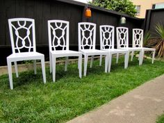 VINTAGE DINING CHAIRS, Set of 6, White Lacquered, Hollywood Regency, Chippendale, Antique Furniture, 70s, 80s, 90s, Lynnsdaughter Row by LynnsdaughterRow on Etsy https://www.etsy.com/listing/205096536/vintage-dining-chairs-set-of-6-white