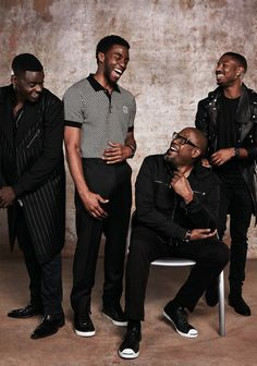 Daniel Kaluuya, Chadwick Boseman, Forest Whitaker, and Michael B Jordan Black Panther Marvel, My Black Is Beautiful, Beautiful Men, Beautiful Celebrities, Black Boys, Black Men, Model Tips, Black Panther Chadwick Boseman, Black Actors