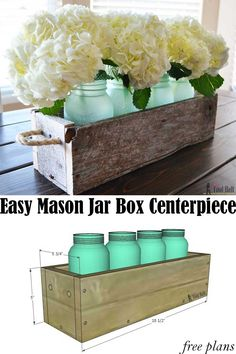Simple box centerpiece plans with lots of variations on length and height. Check… Simple box centerpiece plans with lots of variations on length and height. Check out how to transform regular mason jars into pretty sea glass jars Pot Mason Diy, Mason Jars, Mason Jar Crafts, Glass Jars, Sea Glass, Mason Jar Planter, Wooden Box Centerpiece, Dining Room Centerpiece, Tall Centerpiece