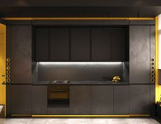 Dark Interiors Cut Through With Concrete & Colourful Accents Modern Kitchen Cabinets, Kitchen Cabinet Design, Kitchen Interior, Hallway Seating, Platform Bed Designs, Glass Brick, Apartment Projects, Concrete Kitchen, Home Ceiling