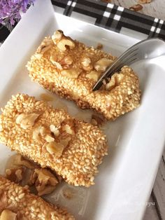 Sesame coated fried feta with honey and walnuts – Taking the guesswork out of Greek cooking…one cup at a time Feta, Clean Plates, Greek Cooking, Eat Lunch, Greek Recipes, Serving Dishes, Honey, Vegetarian, Breakfast