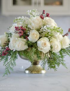 Make this Arrangement in 3 easy steps-DIY Winter Centerpiece-Easy DIY Wedding Centerpiece-An Easy White Rose and Pine Christmas Centerpiece Winter Centerpieces, Unique Centerpieces, Wedding Table Centerpieces, Wedding Decorations, Centerpiece Flowers, Centerpiece Ideas, Christmas Flower Arrangements, Wedding Flower Arrangements, Floral Arrangements