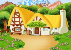Book Background, Cartoon Background, The Dwarf House, Farm Cartoon, House Clipart, Powerpoint Background Design, Church Stage Design, Silhouette Clip Art, Toddler Learning Activities