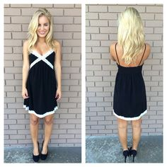 Black & White Lace Trim Candice Dress