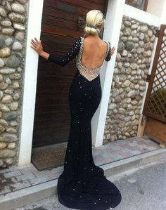 black dress prom dress beaded dress long sleeves low cut back sexy dress long white pearl @ http://www.truelightcollection.com/