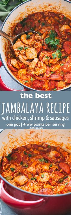 Jambalaya Recipe - Easy tasty one pot recipe for Jambalaya prepared with rice chicken shrimp and sausages. Whip up this Southern favorite in just 30 minutes and get ready for a Mardi Gras dinner that the whole family will love! Chicken And Shrimp Recipes, Seafood Recipes, Recipe Chicken, Chicken Rice, Crockpot Recipes, Cooking Recipes, Healthy Recipes, Best Jambalaya Recipe, Southern Jambalaya Recipe