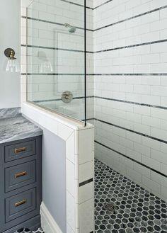 Dark gray hexagon shower floor tiles