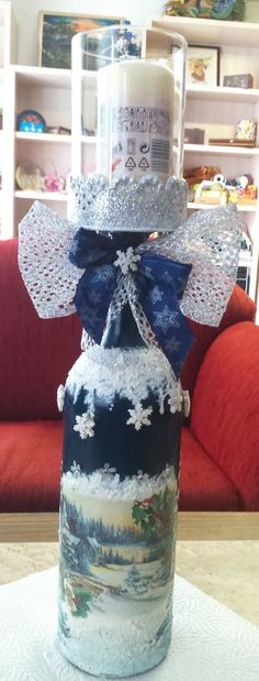 Decoupage & painting - a big winebottle is gone to be a candelholder for xmas - made by Nati Merlin