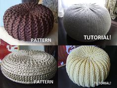 """You will get 9 PDF files (4 Pouf Patterns and 5 Pouf Tutorial) !    1.Crochet Grey XL Pouf  Here you will see the complete process of pouf making and explanation of each type of used stitches.The tutorial is done in English.    ▪ Diameter 65 cm (26"""")  ▪ Height 35 cm (14"""")      2. Crochet Beige Pouf Here you will see the complete process of pouf making and explanation of each type of used stitches.    - Diameter 55-60 cm (22 - 24)  - Height 30-35 cm (12 - 14)    3. Crochet Light Brown Pouf…"""