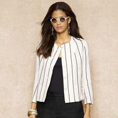 Ralph Lauren Blue Label Striped Linen Jacket