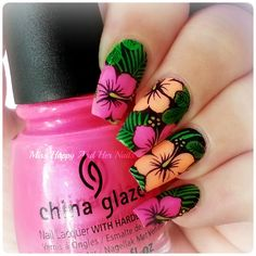 Nail Art Marathon – Stamping decals Previous Post Next Post Tropical Flower Nails, Tropical Nail Art, Tropical Nail Designs, Hibiscus Nail Art, Style Tropical, Fancy Nails, Cute Nails, Pretty Nails, Hawaiian Nails