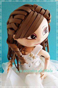 Comunión Fondant Figures, Clay Figures, Clay Dolls, Doll Toys, Foam Crafts, Diy And Crafts, Eva Hair, Doll Hair, Clay Tutorials