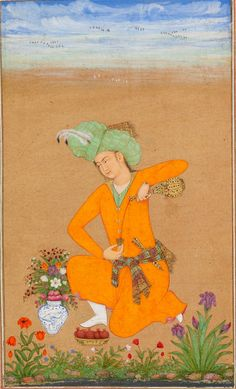 A prince in Persian costume pouring wine.  Inscribed on the bowl in Persian: 'amal-i Muhammad Khan musavvir sanna 1043 ('work of Muhammad Khan the artist, the year 1043/1633–4').  Add.Or.3129, f. 21v