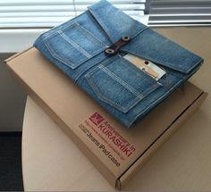 """Capa para  IPad  de jeans reciclado. Esse é um tipo de """"reciclagem que eu gosto"""""""