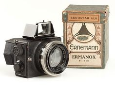 The 1924 Ermanox was introduced under the name Er-Nox. It was made by Ernemann in Dresden. The camera has a huge and unusually fast Ernostar f/1.8 lens.