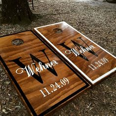 This Listing Includes: 1- set of regulation sized cornhole boards painted/stained & varnished with vinyl graphics (2- boards) 1- set regulation sized cornhole bean bags (8-bags) choice of 2 colors Eac
