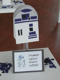 Great craft for a boys Star Wars party. Passes the time with a little less noise, I hope!