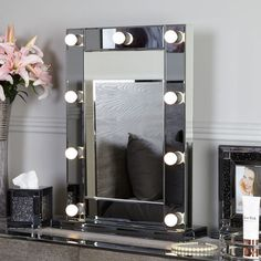Smoked Glass Dressing Table Mirror With 9 Dimmable LED Light Bulbs Mirror Panels, Mirror Wall Art, Glass Furniture, Mirrored Furniture, Hollywood Mirror, Diy Zimmer, Dressing Table Mirror, Dimmable Led Lights, Living Room On A Budget