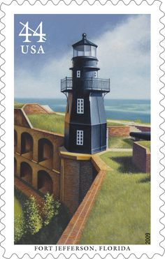 Erected in 1876, Fort Jefferson Lighthouse (also known as Garden Key Lighthouse) helped warn sea traffic away from the dangerous shoals and reefs that surround the Florida Keys until it was deactivated in 1921.  Today the hexagonal lighthouse is part of Dry Tortugas National Park. This stamp was issued in 2009.