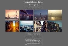 baguetteBox.js is a new lightbox plugin made in pure Javascript to create image galleries. It provides support for responsive images, CSS3 t...