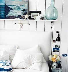 Painted white panels.... living room idea. Cool color palette