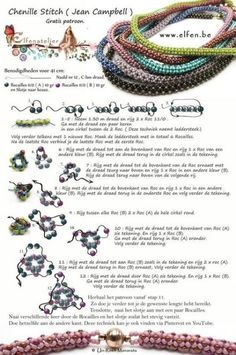 Chenille Stitch - schema for beaded rope bracelet ~ Seed Bead Tutorials Crochet Jewelry Patterns, Seed Bead Patterns, Beaded Bracelet Patterns, Weaving Patterns, Knitting Patterns, Crochet Beaded Bracelets, Beaded Bead, Peyote Bracelet, Art Patterns