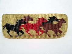 Items similar to Wild Running Horses, Black, Red, Brown on Gold, Horse-Lovers Beaded Bracelet Cuff on Etsy Bead Loom Patterns, Beading Patterns, Cross Stitch Patterns, Friendship Bracelets With Beads, Beaded Bracelets, Homemade Bracelets, Native American Crafts, Horse Pattern, Running Horses