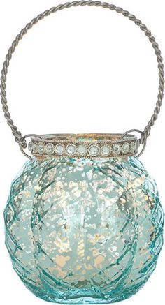 Turquoise Blue Mercury Glass Hanging Candle Holders Wholesale (with rhinestones) from cultural intrigue
