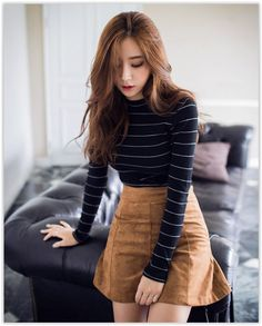 Anniversary Sale! Up to 80% OFF all items! chuu - Mock-Neck Striped Ribbed Top