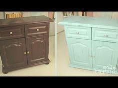 Pentart Dekor Paint- vintage rekonštrukcia starého nábytku - YouTube
