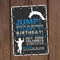 Jump Trampoline Park Birthday Party Invitation by Aurora Graphic Studio's Invitation Line: Aurora Invited https://www.etsy.com/listing/189062940/jump-trampoline-park-birthday-party?ref=shop_home_active_1