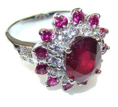 $60.85 Falling In Love!! Red Ruby Sterling Silver Ring s. 6 at www.SilverRushStyle.com #ring #handmade #jewelry #silver #ruby