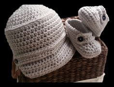 Handmade Baby hat and booties light gray, any color, newsboy, crochet brim hat, available in sport team colors, infant loafers, baby shoes