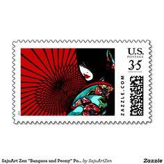 "SajuArt Zen ""Bangasa and Peony"" Postage Stamp"