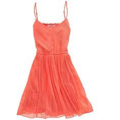 pleated pembroke dress ($130) ❤ liked on Polyvore featuring dresses, vestidos, pink, short dresses, women, pink cocktail dress, short red cocktail dress, short a line dresses and red a line dress