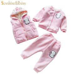 38.12$ Watch here - http://alio7a.shopchina.info/go.php?t=32772346048 - Baby Clothing Sets Lovely Sweater+Vest+Pants 3Pcs Suit Kids Winter Warm Parkas Coat Thick Plush Cartoon Sheep Tracksuit For Girl 38.12$ #magazineonlinewebsite