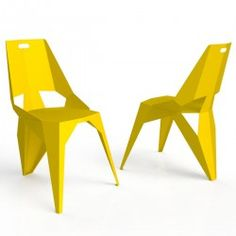 Chaise design 3 pieds PLEXUS jaune