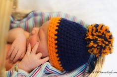 Crochet Chicago Bears Football Hat crochet hat pom pom by echats